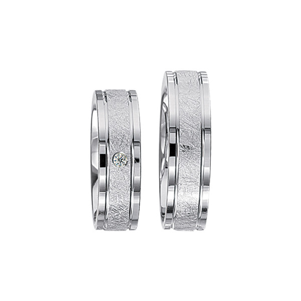 2 x Silberringe mit Diamant - EC84 Silver S52