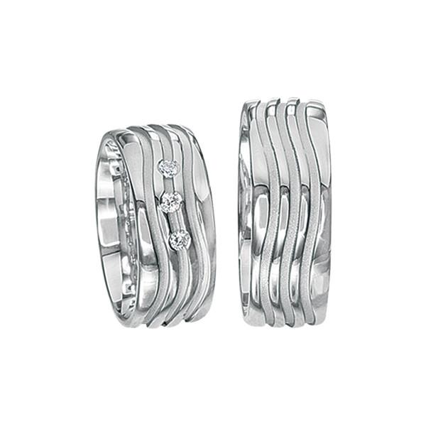 2 x Silberringe mit Diamant - EC84 Silver S53