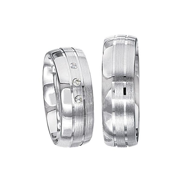2 x Silberringe mit Diamant - EC84 Silver S55