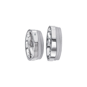 2 x Silberringe mit Diamant - EC84 Silver S57