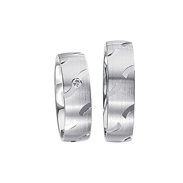 2 x Silberringe mit Diamant - EC84 Silver S58