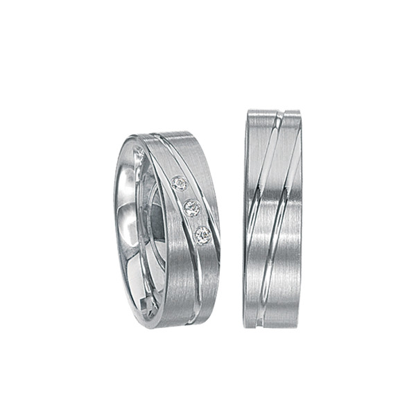 2 x Silberringe mit Diamant - EC84 Silver S59