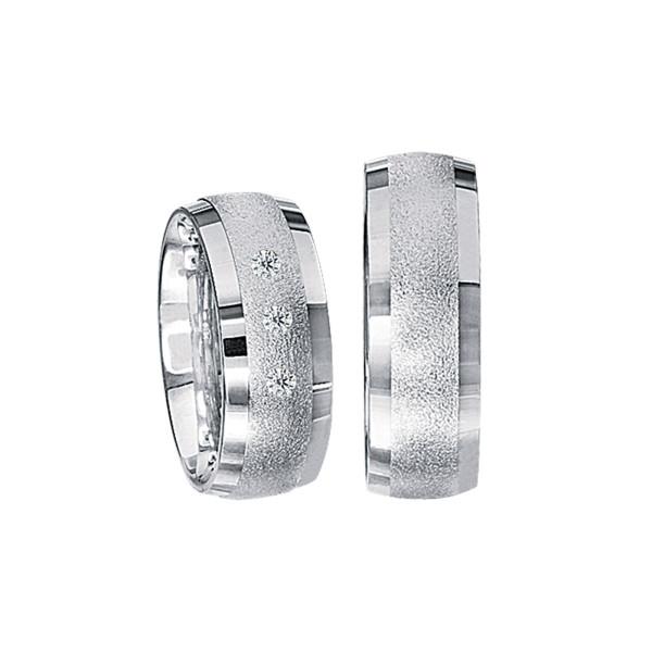 2 x Silberringe mit Diamant - EC84 Silver S60
