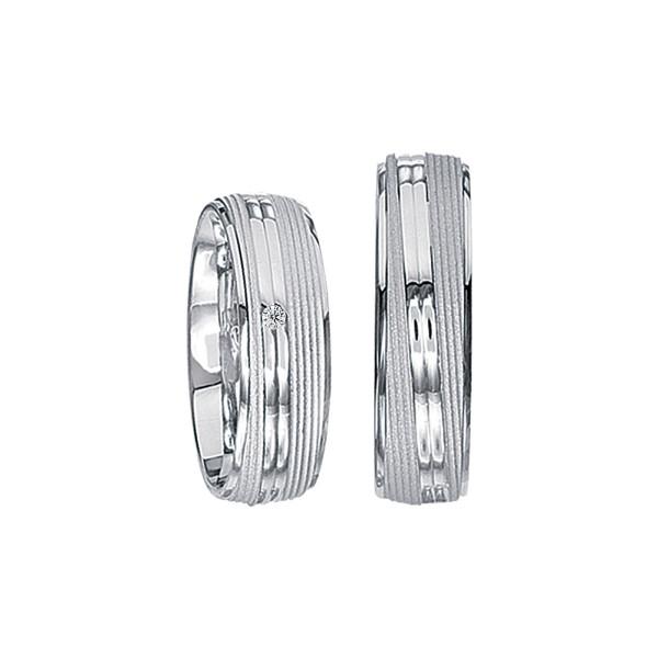 2 x Silberringe mit Diamant - EC84 Silver S61