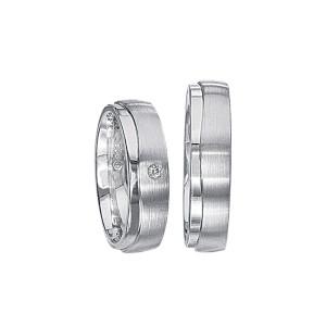 2 x Silberringe mit Diamant - EC84 Silver S62