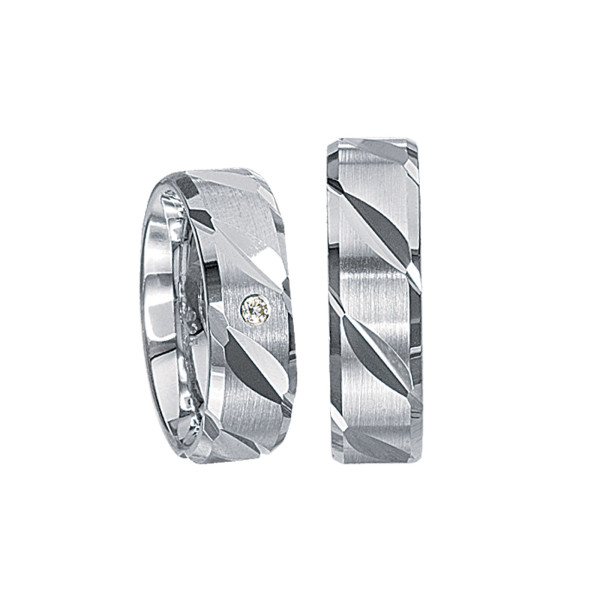 2 x Silberringe mit Diamant - EC84 Silver S63