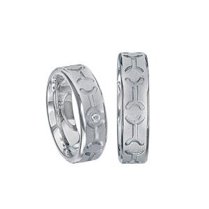 2 x Silberringe mit Diamant - EC84 Silver S64