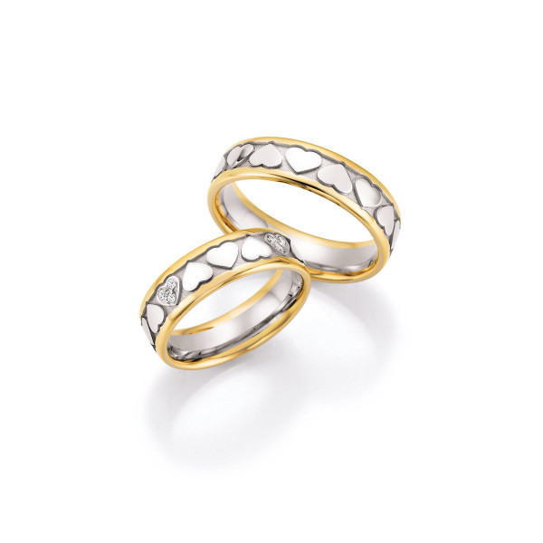 2 x Trauringe mit Diamant 585er Gold - Hearts - Love - Infinity 66/38030-060