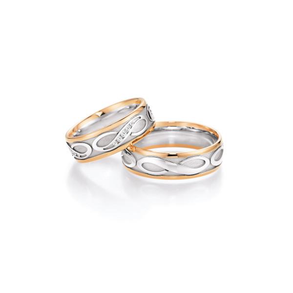 2 x Trauringe mit Diamant 585er Gold - Hearts - Love - Infinity 66/38170-065