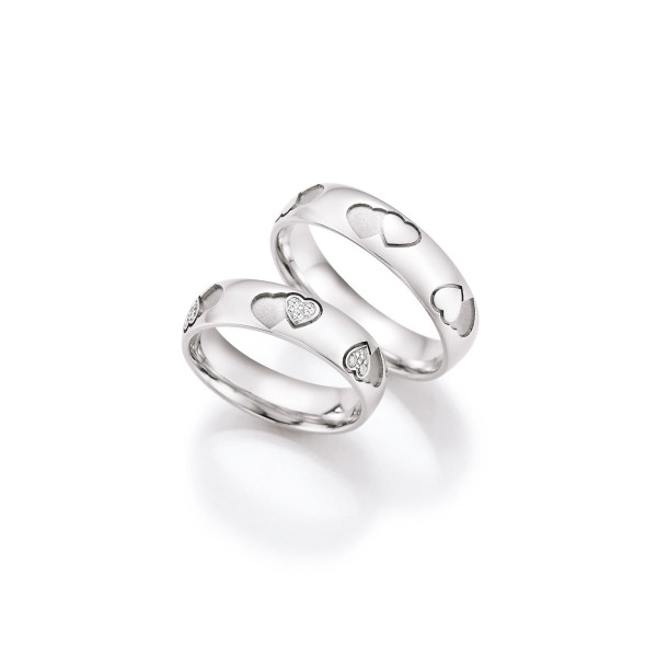 2 x Trauringe mit Diamant 585er Gold - Hearts - Love - Infinity 66/38050-055