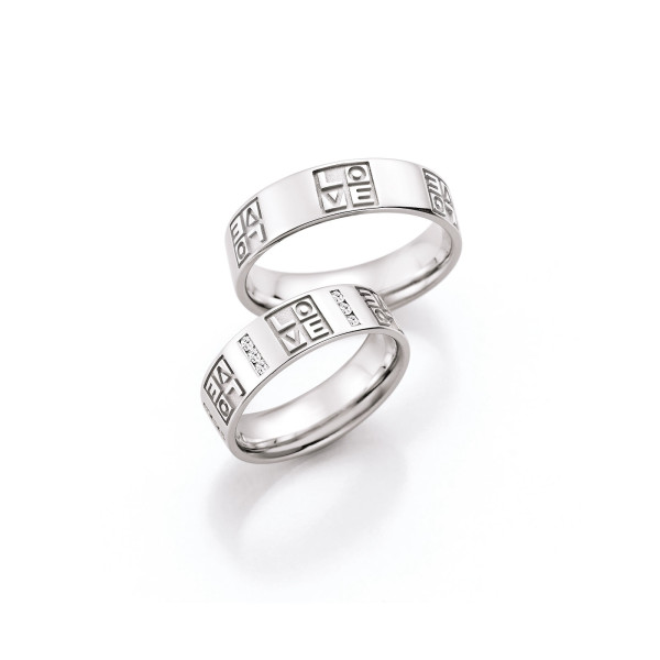 2 x Trauringe mit Diamant 585er Gold - Hearts - Love - Infinity 66/38090-060