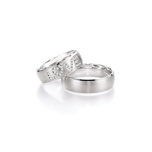 2 x Trauringe mit Diamant 585er Gold - Hearts - Love - Infinity 66/38110-065