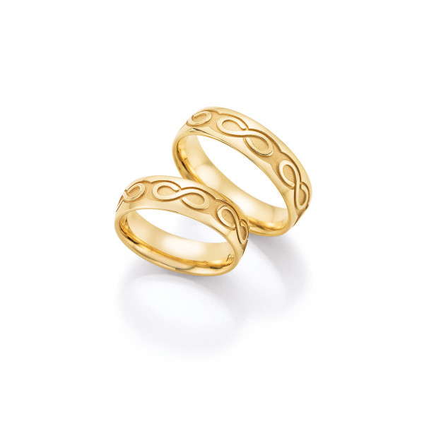 2 x Trauringe mit Diamant 585er Gold - Hearts - Love - Infinity 66/38140-060