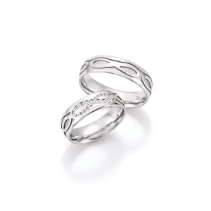2 x Trauringe mit Diamant 585er Gold - Hearts - Love - Infinity 66/38150-060