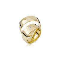 2 x Trauringe mit Diamant - Basic Kollektion S 103