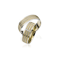 2 x Trauringe mit Diamant - Basic Kollektion S 118