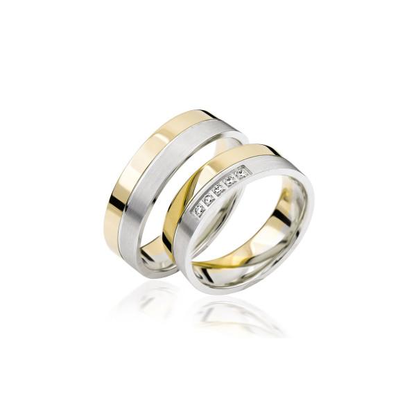 2 x Trauringe mit Diamant - Basic Kollektion S 123