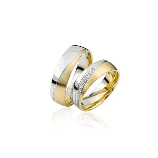 2 x Trauringe mit Diamant - Basic Kollektion S 126