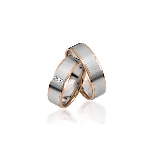2 x Trauringe mit Diamant - Basic Kollektion S 142