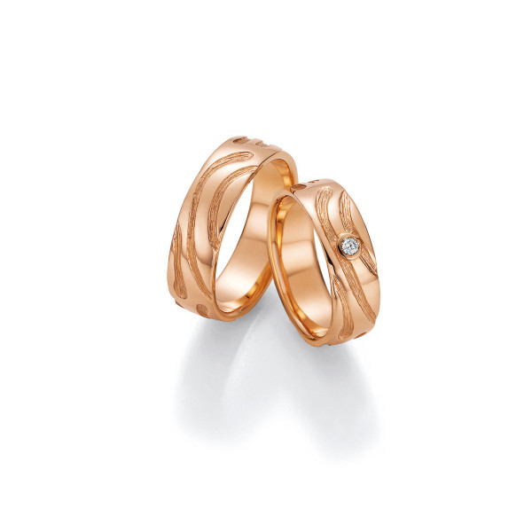 2 x Trauringe mit Diamant 585er Gold - Fascination of Art - 66/52010-061