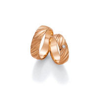 2 x Trauringe mit Diamant 585er Gold - Fascination of Art - 66/52030-061