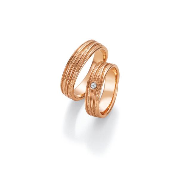 2 x Trauringe mit Diamant 585er Gold - Fascination of Art - 66/52070-057