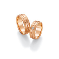 2 x Trauringe mit Diamant 585er Gold - Fascination of Art - 66/52090-067