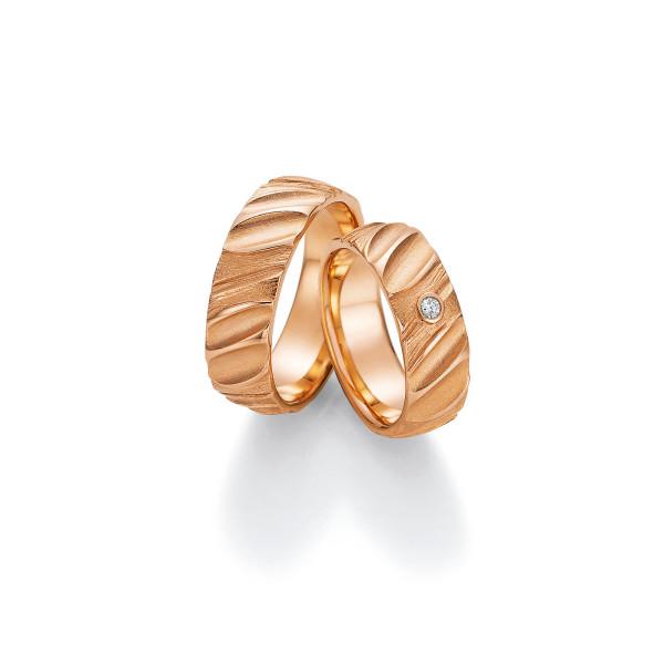 2 x Trauringe mit Diamant 585er Gold - Fascination of Art - 66/52110-068