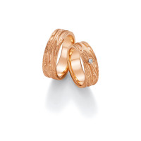 2 x Trauringe mit Diamant 585er Gold - Fascination of Art - 66/52130-067