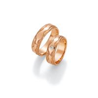 2 x Trauringe mit Diamant 585er Gold - Fascination of Art - 66/52150-061