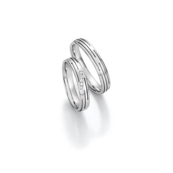 2 x Trauringe mit Diamant Weißgold 585er Gold - Honeymoon Infinity - 66/35010-040