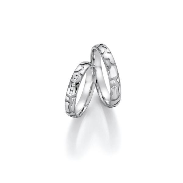 2 x Trauringe mit Diamant Weißgold 585er Gold - Honeymoon Infinity - 66/35030-040