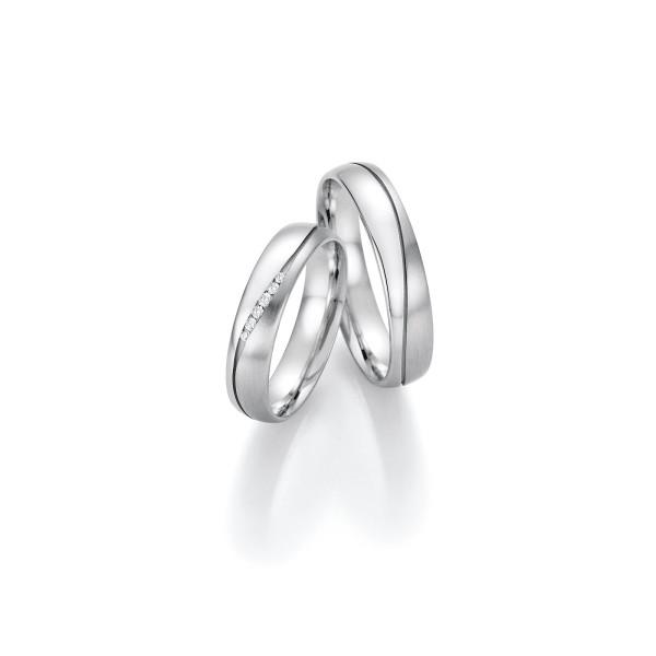2 x Trauringe mit Diamant Weißgold 585er Gold - Honeymoon Infinity - 66/35130-045
