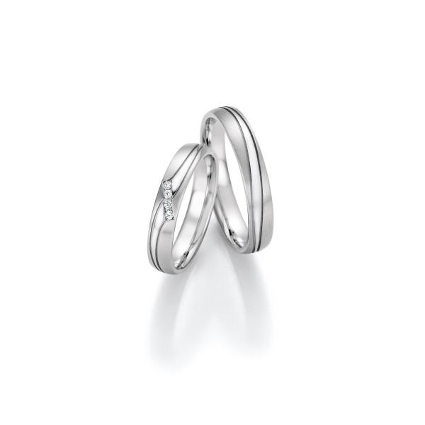 2 x Trauringe mit Diamant Weißgold 585er Gold - Honeymoon Infinity - 66/35170-040