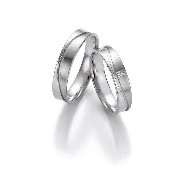 2 x Trauringe mit Diamant 585er Gold - Honeymoon Light - 66/05310-045