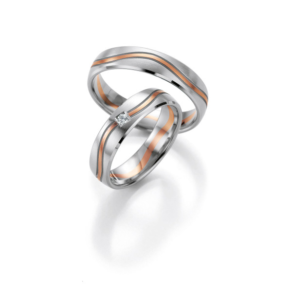 2 x Trauringe mit Diamant 585er Gold - Honeymoon Light - 66/07250-050
