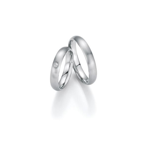 2 x Trauringe mit Diamant 500 Palladium - Honeymoon Luminosa - 02/31010-040