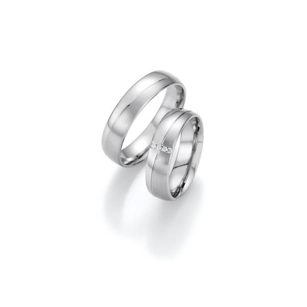2 x Trauringe mit Diamant 500 Palladium - Honeymoon Luminosa - 02/31030-055