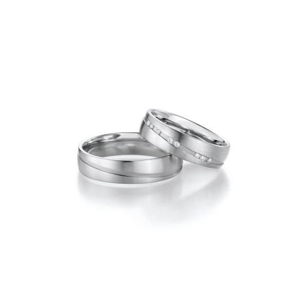 2 x Trauringe mit Diamant 500 Palladium - Honeymoon Luminosa - 02/31070-055