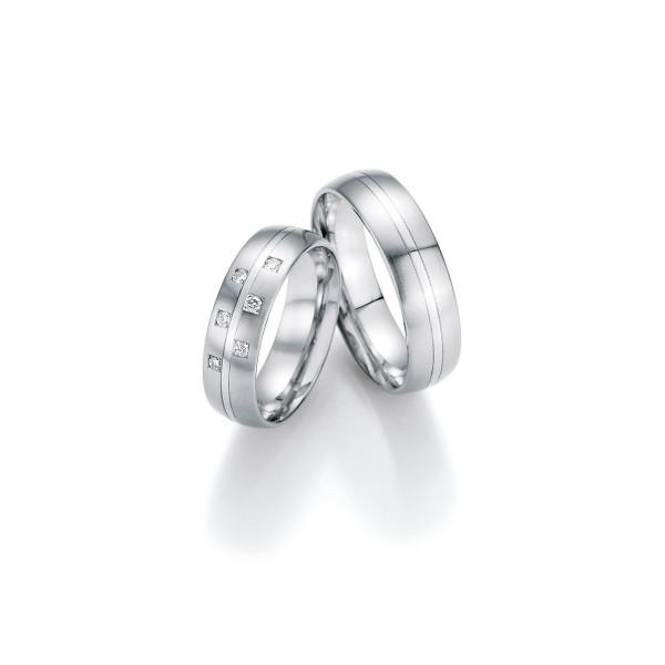 2 x Trauringe mit Diamant 500 Palladium - Honeymoon Luminosa - 02/31090-060