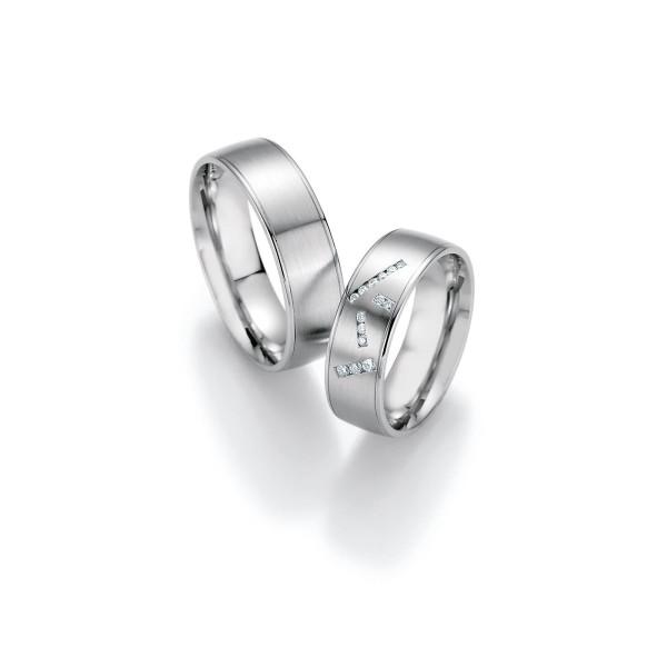2 x Trauringe mit Diamant 500 Palladium - Honeymoon Luminosa - 02/31110-065