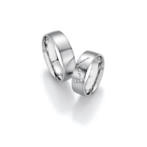 2 x Trauringe mit Diamant 500 Palladium - Honeymoon...