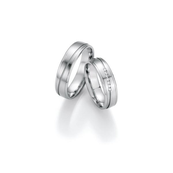 2 x Trauringe mit Diamant 500 Palladium - Honeymoon Luminosa - 02/31170-055