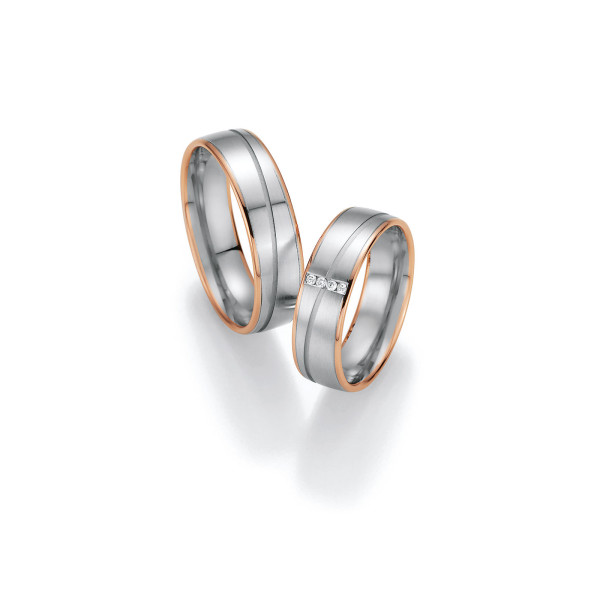 2 x Trauringe mit Diamant 585er Gold - Honeymoon Variation - 66/40010-060