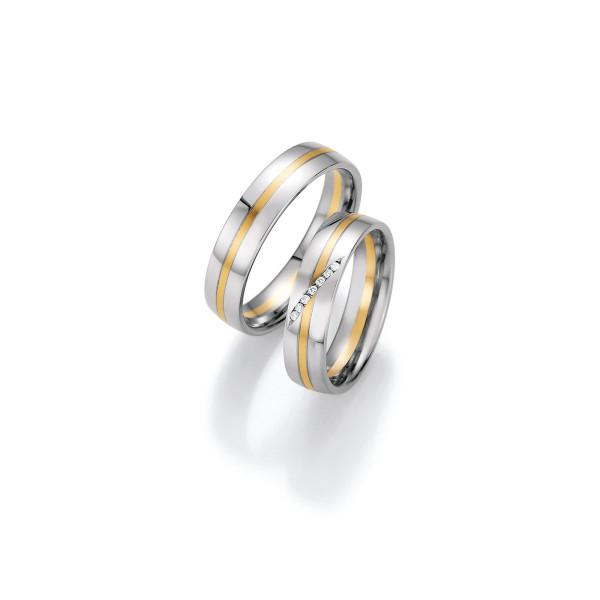 2 x Trauringe mit Diamant 585er Gold - Honeymoon Variation - 66/40030-050