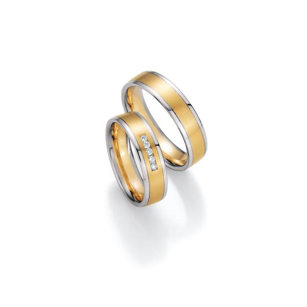 2 x Trauringe mit Diamant 585er Gold - Honeymoon Variation - 66/40050-055