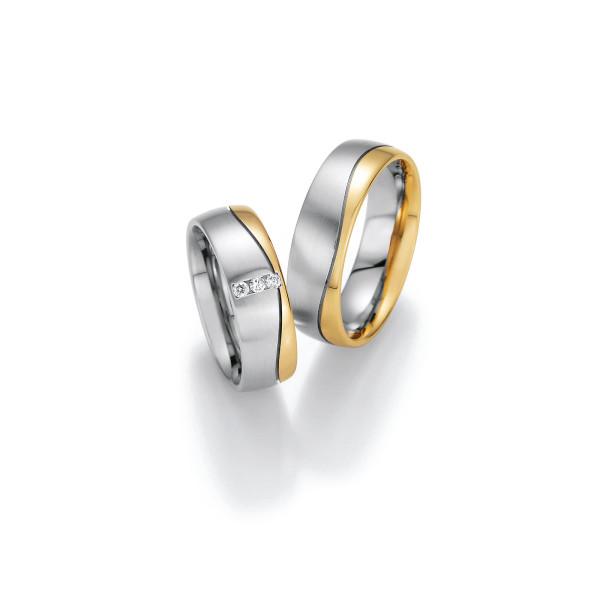 2 x Trauringe mit Diamant 585er Gold - Honeymoon Variation - 66/40070-065