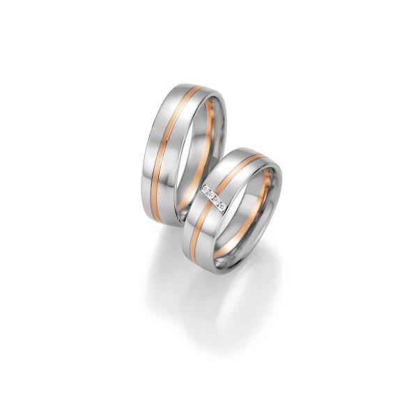 2 x Trauringe mit Diamant 585er Gold - Honeymoon Variation - 66/40090-060