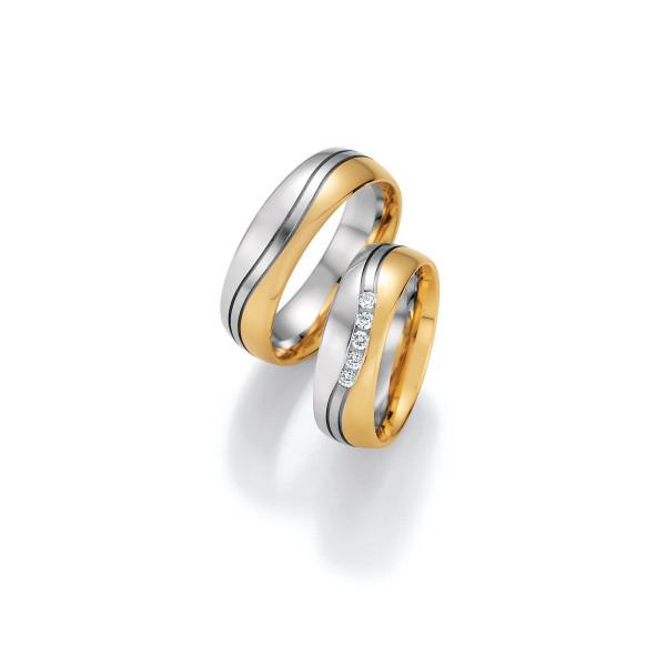 2 x Trauringe mit Diamant 585er Gold - Honeymoon Variation - 66/40110-065
