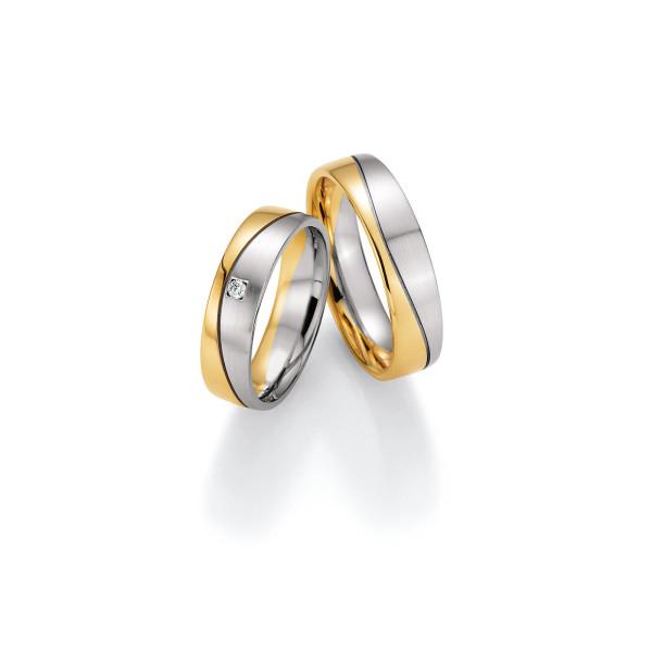2 x Trauringe mit Diamant 585er Gold - Honeymoon Variation - 66/40130-055